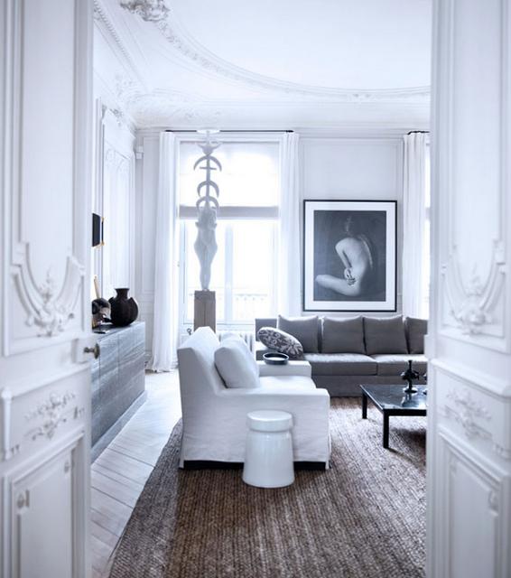 Gilles & Boissier design boiseries on doors and chevron floors via belle vivir blog