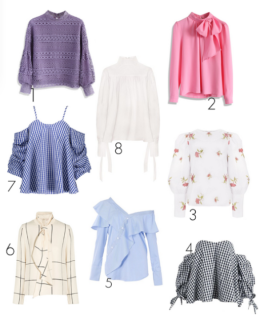 flowery tops, romantic blouses, crochet toops, ruffle tops