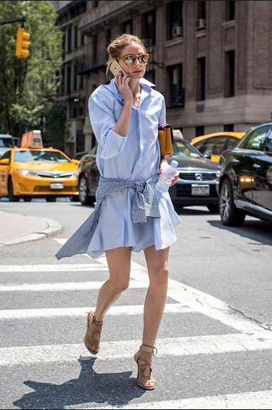 Olivia Palermo in a shirt dress