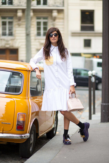 white shirt dress with brogues