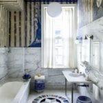 Heavily Veined Marble Bathrooms:  An Exclusive Detail