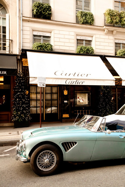 sport convertible car in front of cartier store