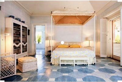 beach bedroom painted in hexagon pattern on wood floors