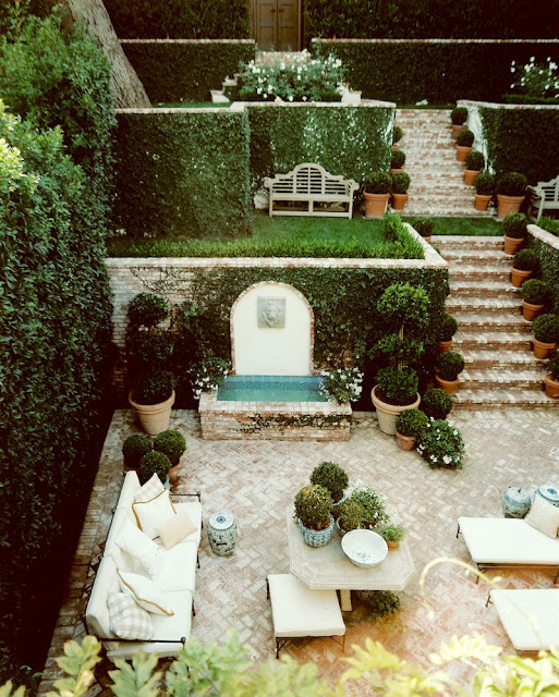 Mark D Sikes Outdoor patio design terraces and fountain