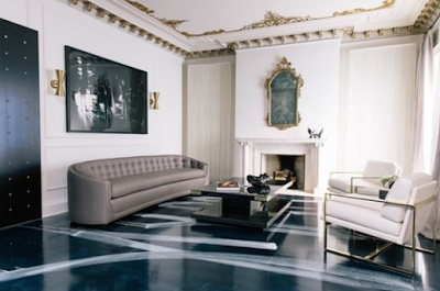 artistic strokes painted on black glossy floors