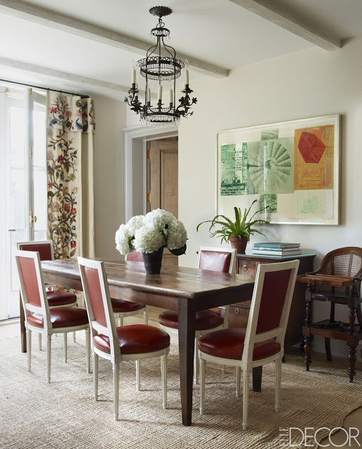 Emma Jane Pilkington Greenwich Home, dining room with seagrass rug and red leather dining chairs