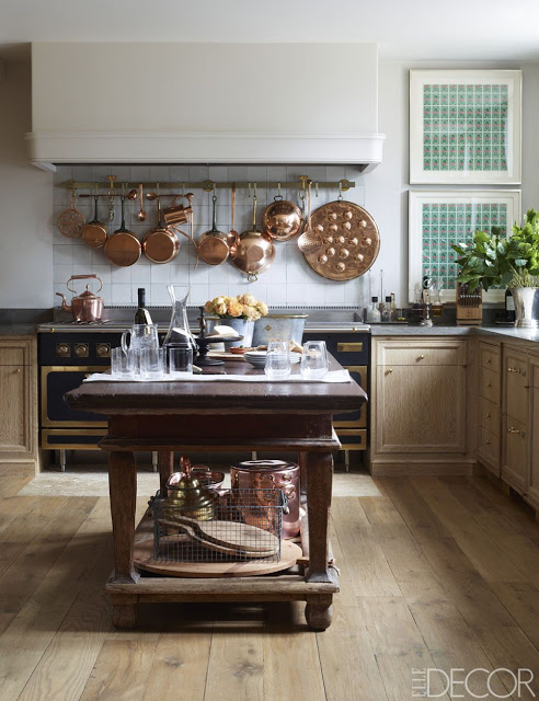 Emma Jane Pilkington Greenwich Home, with copper pats and pans hanging above the stove
