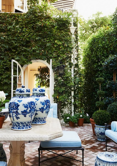 Mark D Sikes Outdoor patio design blue and white pottery