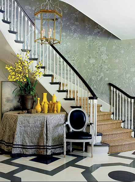 Graphic and Patterned Floor Ideas, black and white painted floors and de gournay wallpaper