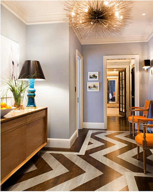 Graphic and Patterned Floor Ideas, chevron painted on wood floor
