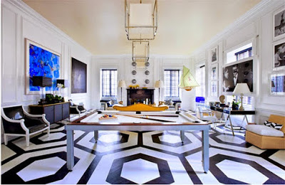 Graphic and Patterned Floor Ideas, wood floor painted in balck and white honeycomb pattern
