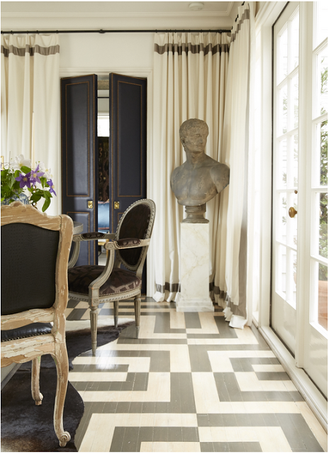Graphic and Patterned Floor Ideas, wood floor painted in grey and white maze pattern
