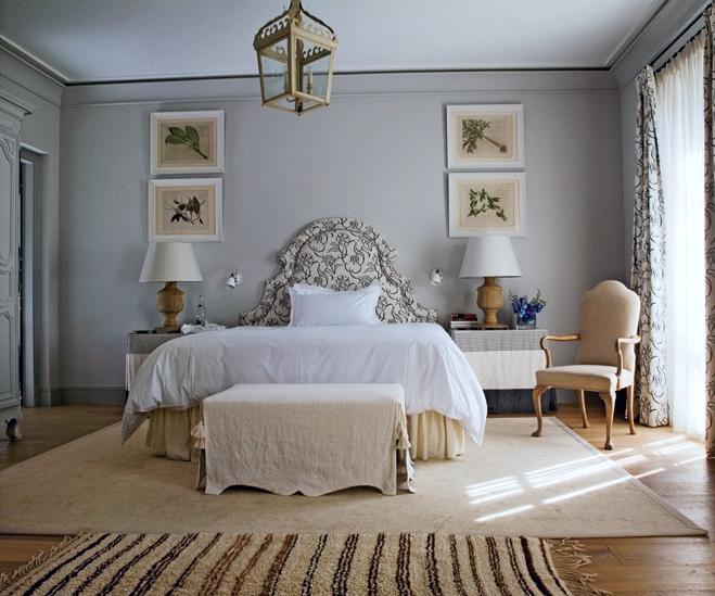 Gray Bedroom With Upholstered Bed Via Belle Vivir