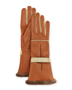 belle vivir sale suggestions mario portolano leather fur-trim gloves