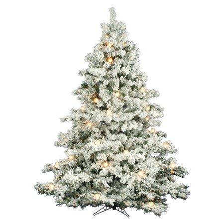 6.5 flocked alaskan pre-lit christmas tree via belle vivir |