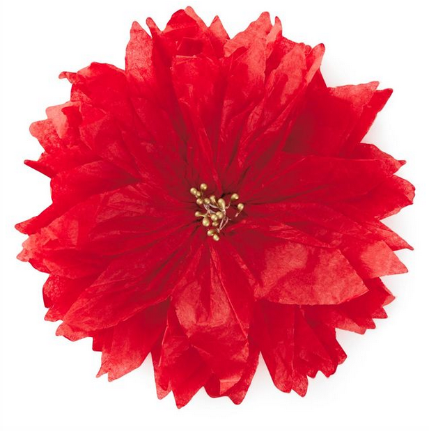 Red poinsettia tissue paper flower bow red poinsettia tissue paper flower bow mightylinksfo