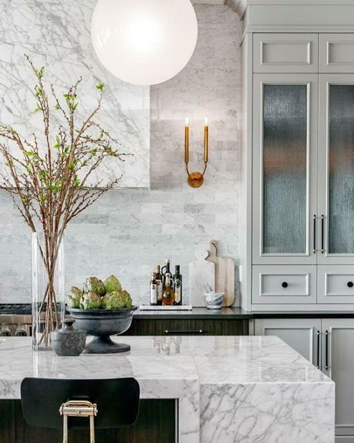 gray kitchen functional kitchen with marble covered vent via belle vivir blog
