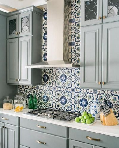 Backsplash Behind The Stove Kitchen Design Patterned Backsplash Grey Cabinets