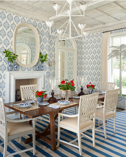 Palm Beach Interior Design, Dining Room With Blue And